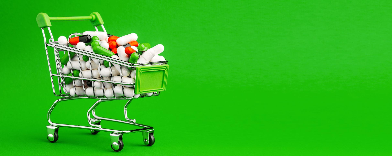 Einkaufswagen mit Tabletten