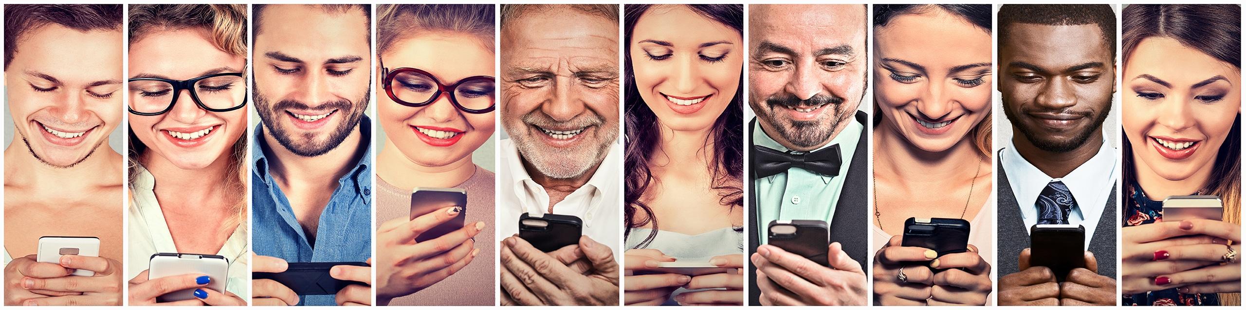 Happy people using mobile smart phone Social Media